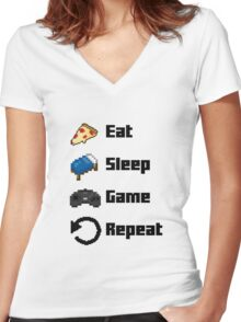 Eat, Sleep, Game, Repeat! 8bit Women's Fitted V-Neck T-Shirt