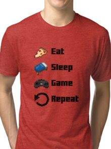 Eat, Sleep, Game, Repeat! 8bit Tri-blend T-Shirt