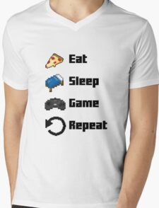 Eat, Sleep, Game, Repeat! 8bit Mens V-Neck T-Shirt