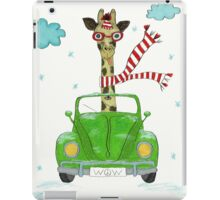 Crazy Giraffe Driving Green Beetle With Peace Sign iPad Case/Skin