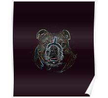 Abstract Psychedelic Dark Bulldog Drawing  Poster