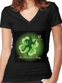 Saint Patricks Day Women's Fitted V-Neck T-Shirt