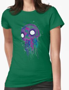 Jellyfish Watercolor Womens Fitted T-Shirt