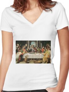 The Last Supper (Ultima Cena) by Joan de Joanes (c. 1562) Women's Fitted V-Neck T-Shirt