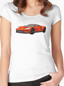 2016 Ford GT, Forza 6 Motorsport Game Cover Car, Black with Red colour Fill Women's Fitted Scoop T-Shirt