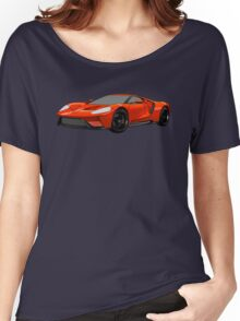 2016 Ford GT, Forza 6 Motorsport Game Cover Car, Black with Red colour Fill Women's Relaxed Fit T-Shirt