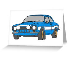 1970 Ford Escort RS2000 Fast and Furious Paul Walker's car Black Outline Colour fill. Greeting Card