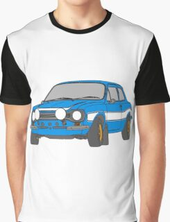 1970 Ford Escort RS2000 Fast and Furious Paul Walker's car Black Outline Colour fill. Graphic T-Shirt