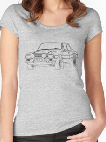 1970 Ford Escort RS2000 Fast and Furious Paul Walker's car Black Outline no fill. Women's Fitted Scoop T-Shirt