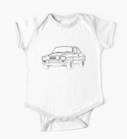 1970 Ford Escort RS2000 Fast and Furious Paul Walker's car Black Outline no fill. One Piece - Short Sleeve