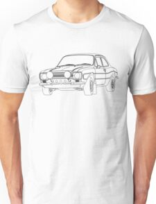 1970 Ford Escort RS2000 Fast and Furious Paul Walker's car Black Outline no fill. Unisex T-Shirt