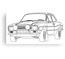 1970 Ford Escort RS2000 Fast and Furious Paul Walker's car Black Outline no fill. Canvas Print