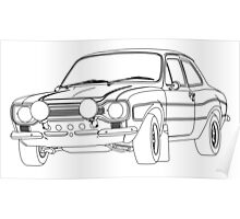 1970 Ford Escort RS2000 Fast and Furious Paul Walker's car Black Outline no fill. Poster