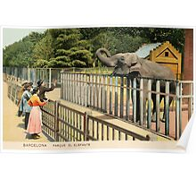 Vintage Barcelona park the Elephant in colour Poster