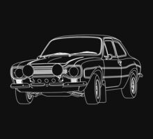 1970 Ford Escort RS2000 Fast and Furious Paul Walker's car White Outline no fill. Kids Tee