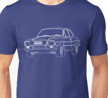 1970 Ford Escort RS2000 Fast and Furious Paul Walker's car White Outline no fill. Unisex T-Shirt