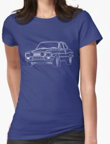 1970 Ford Escort RS2000 Fast and Furious Paul Walker's car White Outline no fill. Womens Fitted T-Shirt