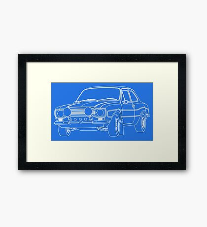 1970 Ford Escort RS2000 Fast and Furious Paul Walker's car White Outline no fill. Framed Print