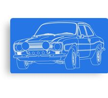 1970 Ford Escort RS2000 Fast and Furious Paul Walker's car White Outline no fill. Canvas Print