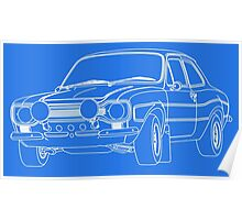 1970 Ford Escort RS2000 Fast and Furious Paul Walker's car White Outline no fill. Poster