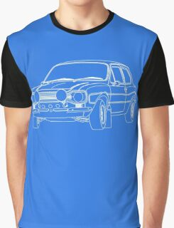 1970 Ford Escort RS2000 Fast and Furious Paul Walker's car White Outline no fill. Graphic T-Shirt