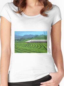 Shinkansen line in Green Tea Meadows, near Kyoto, Japan Women's Fitted Scoop T-Shirt