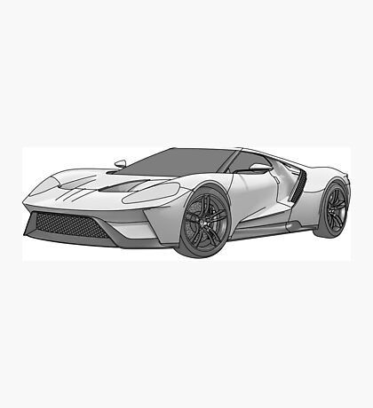 2016 Ford GT, Forza 6 Motorsport Game Cover Car, Black greyscale Fill Photographic Print