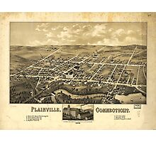 Perspective Map of Plainville Connecticut (1878) Photographic Print