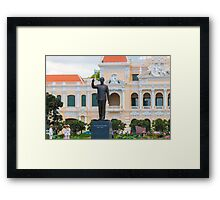 Statue of Ho Chi Minh at City Hall Saigon Framed Print
