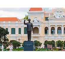 Statue of Ho Chi Minh at City Hall Saigon Photographic Print