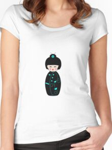 Japanese Geisha Doll Women's Fitted Scoop T-Shirt