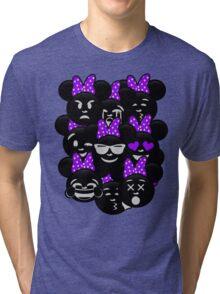 Minnie Emoji's Assortment - Purple Tri-blend T-Shirt