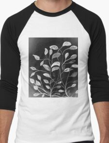 Red and Green Leaves! Monochrome Black and White and Grey Men's Baseball ¾ T-Shirt
