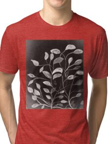 Red and Green Leaves! Monochrome Black and White and Grey Tri-blend T-Shirt