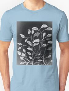 Red and Green Leaves! Monochrome Black and White and Grey T-Shirt