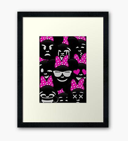 Minnie Emoji's Assortment - Pink Framed Print