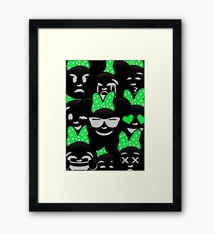 Minnie Emoji's Assortment - Green Framed Print