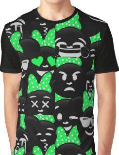Minnie Emoji's Assortment - Green Graphic T-Shirt