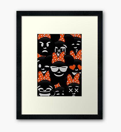 Minnie Emoji's Assortment - Orange Framed Print