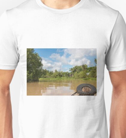 Boat on the Mekong River South West Vietnam Unisex T-Shirt