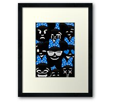 Minnie Emoji's Assortment - Blue Framed Print
