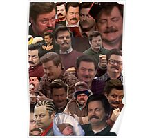 RON SWANSON'S FACES Poster