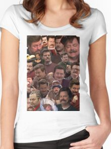 RON SWANSON'S FACES Women's Fitted Scoop T-Shirt