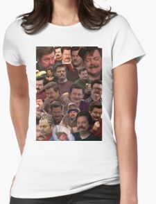 RON SWANSON'S FACES Womens Fitted T-Shirt