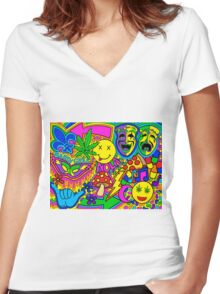 Mardi Gras Collage Women's Fitted V-Neck T-Shirt
