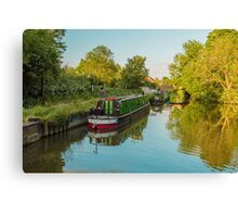 Canal Boats on the River Lee at Harlow Mill Essex UK Canvas Print