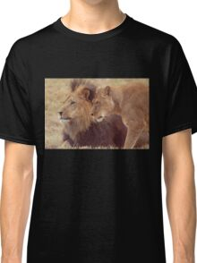 African Male Lion with Lioness Classic T-Shirt