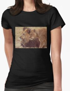 African Male Lion with Lioness Womens Fitted T-Shirt