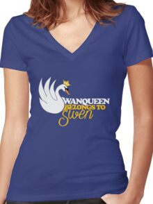 SwanQueen Belongs to Swen Women's Fitted V-Neck T-Shirt