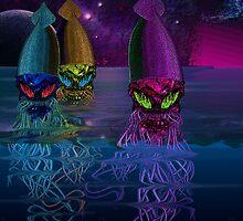 Rainbow Squid Skulls by Dark Threads